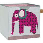 Cube de rangement jouets Wildlife Eléphant (32,5 x 33,5 cm) - Lässig