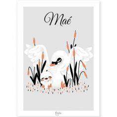 Affiche A3 Les Animignons La maman cygne et son bébé (personnalisable)