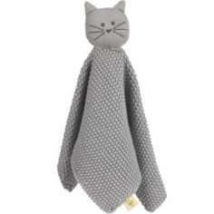 Doudou plat tricoté en coton bio Little Chums chat