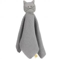 Doudou plat tricoté en coton bio Little Chums chat