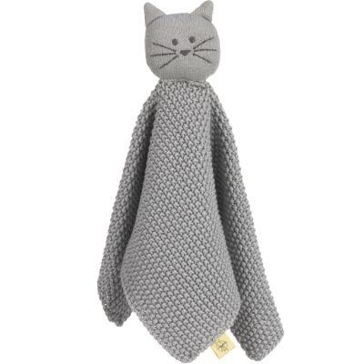 Doudou plat tricoté en coton bio Little Chums chat  par Lässig