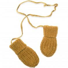 Moufles Emilie tricotées main jaune (12-24 mois : 74 à 86 cm)
