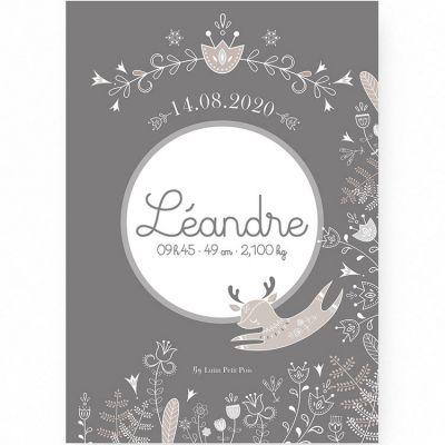 Affiche de naissance A3 Petit renne gris (personnalisable)  par Lutin Petit Pois