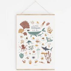 Affiche A3 Les petits trésors de la mer avec support