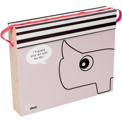 Boîte de rangement rose pour dessins