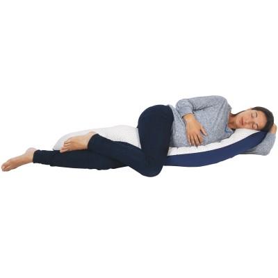 Coussin de maternité et d'allaitement en jersey coton bleu marine avec étoiles