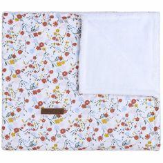 Couverture bébé doublée teddy Bloom blanche (70 x 95 cm)