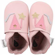 Chaussons bébé en cuir Soft soles Fée roses (9-15 mois)
