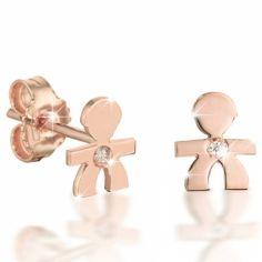 Boucles d'oreilles Briciole garcon (or rose 750° et diamant)