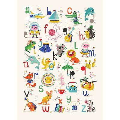 Affiche abécédaire animaux et objets (50 x 70 cm)  par Petit Monkey