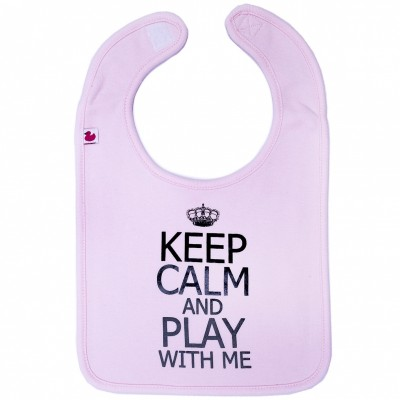 Bavoir à velcro Keep Calm & play rose clair  par BB & Co