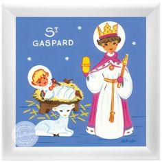 Tableau religieux St Gaspard Saint Patron personnalisable (15 x 15 cm)