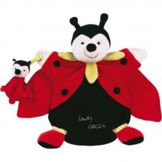 Doudou marionnette Lady coccinnelle et son bébé (25 cm)