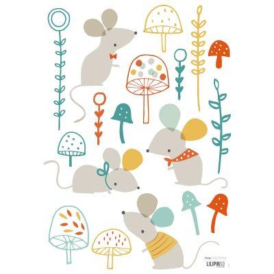 Stickers Souris Woodland by Lizzie Mackay (29,7 x 42 cm)  par Lilipinso