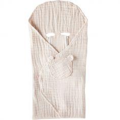 Couverture nomade en mousseline de coton rose clair (120 x 100 cm)