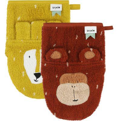 Lot de 2 gants de toilette Mr Lion et Mr Monkey  par Trixie