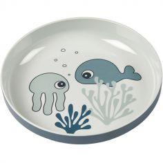 Assiette Yummy Sea Friends bleu