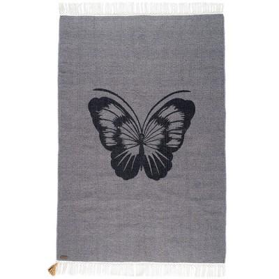 Tapis rectangulaire Gypsy papillon gris (100 x 150 cm)