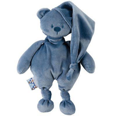 Peluche ours Lapidou bleu foncé (36 cm)  par Nattou
