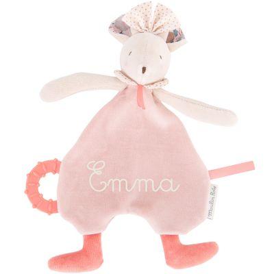 Doudou de dentition souris rose Il était une fois (personnalisable)  par Moulin Roty