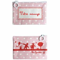 Mini pochette à maquillage rose (personnalisable)