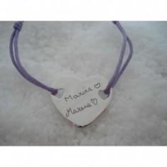 Bracelet empreinte coeur 2 trous coeur sur cordon (or blanc 750°)