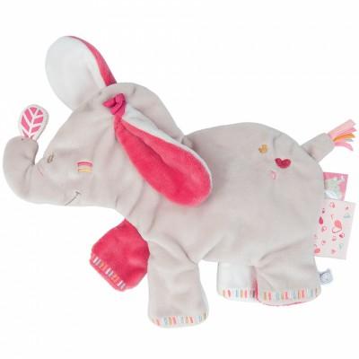 Doudou plat Anna l'éléphante (32 x 34 cm) Noukie's