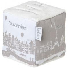 Cube en tissus gris et blanc Capitales du monde