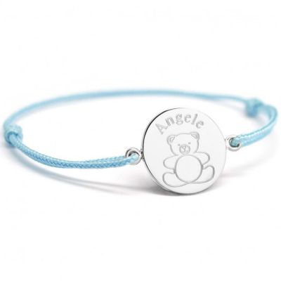 Bracelet cordon Ourson personnalisable (argent 925°)