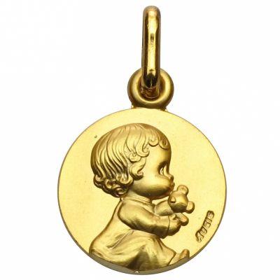 Médaille bébé au doudou Les Loupiots (or jaune 750°)  par A.Augis