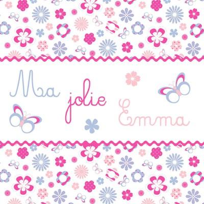 Tableau fleurs rose Ma jolie petite emma personnalisable (20 x 20 cm)  par Home Corner