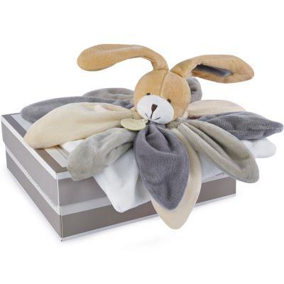 Coffret doudou lapin collector taupe (28 cm)  par Doudou et Compagnie