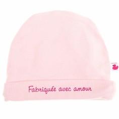 Bonnet de naissance Fabriquée avec amour rose pastel