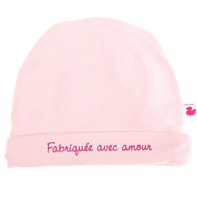 Bonnet de naissance Fabriquée avec amour rose pastel  par BB & Co