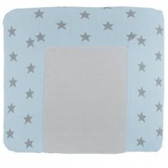Housse de matelas à langer XL Star bleu ciel et gris (75 x 85 cm)