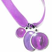 Bracelet ruban mauve et médailles assorties (aluminium et résine) - Martineau