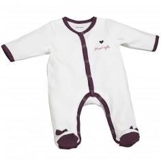 Pyjama chaud Mam'zelle Bou blanc (1 mois : 54 cm)