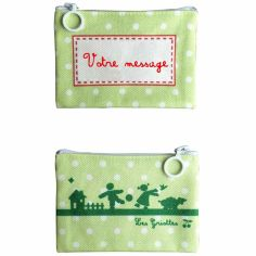 Mini pochette à maquillage verte (personnalisable)