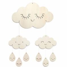 Mobile décoratif en bois nuages et gouttes