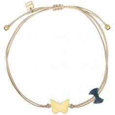 Bracelet cordon beige Nature papillon (vermeil doré)