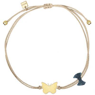 Bracelet cordon beige Nature papillon (vermeil doré)  par Coquine