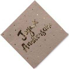 Serviettes en papier Doré Joyeux anniversaire (16 pièces)