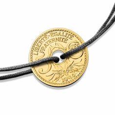 Bracelet cordon noir médaille 5 centimes 16 mm recto verso (or jaune 750°)