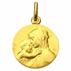 Médaille ronde Vierge à l'enfant 16 mm (or jaune 750°)