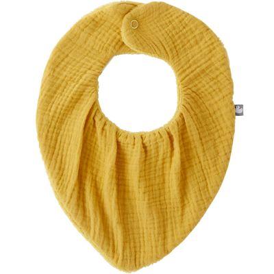 Bavoir bandana bambou réversible moutarde  par BB & Co