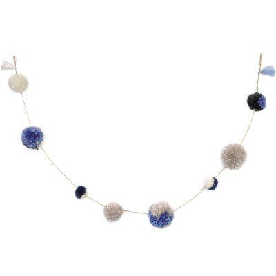 Guirlande de pompons bleue (160 cm)  par Mimi'lou