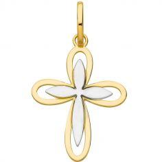 Pendentif double Croix ajourée bicolore 17 mm (or jaune 750°)