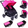Pack Trio Poussette Double Easy Twin 3.0S fuchsia - Baby Monsters