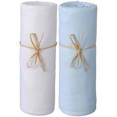 Lot de 2 draps housses en coton bio blanc et bleu (60 x 120 cm)