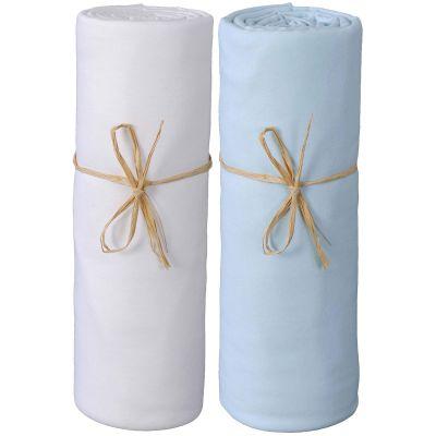 Lot de 2 draps housses en coton bio blanc et bleu (60 x 120 cm)  par P'tit Basile